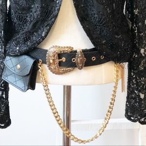 Trendy Faux Leather Quilted Black & Gold Belt
